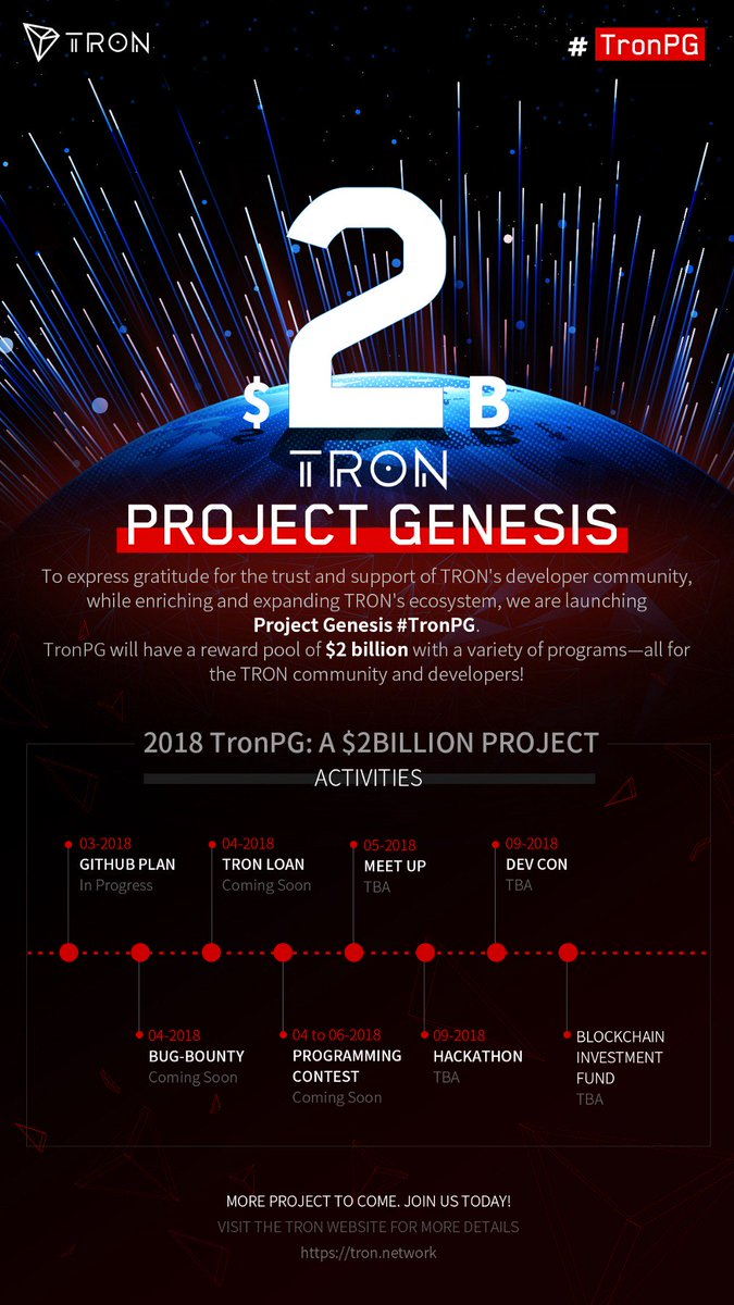 I Announced That 1 Billion Usd Will Be Dedicated To The Tron Community Rewards Program Now That Number Is 2 Billion Welcome To Project Genesis