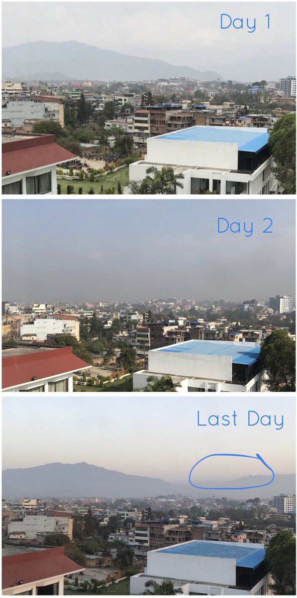 #Visibility part 3… On my last day in #Kathmandu, I was treated to my first view (this trip) of the Himalayas from the Valley! Happy Nepali New Year! #AirQuality #Nepal #Nayabarsa #NAMaSTE3 <br>http://pic.twitter.com/8wxKWPmPyN
