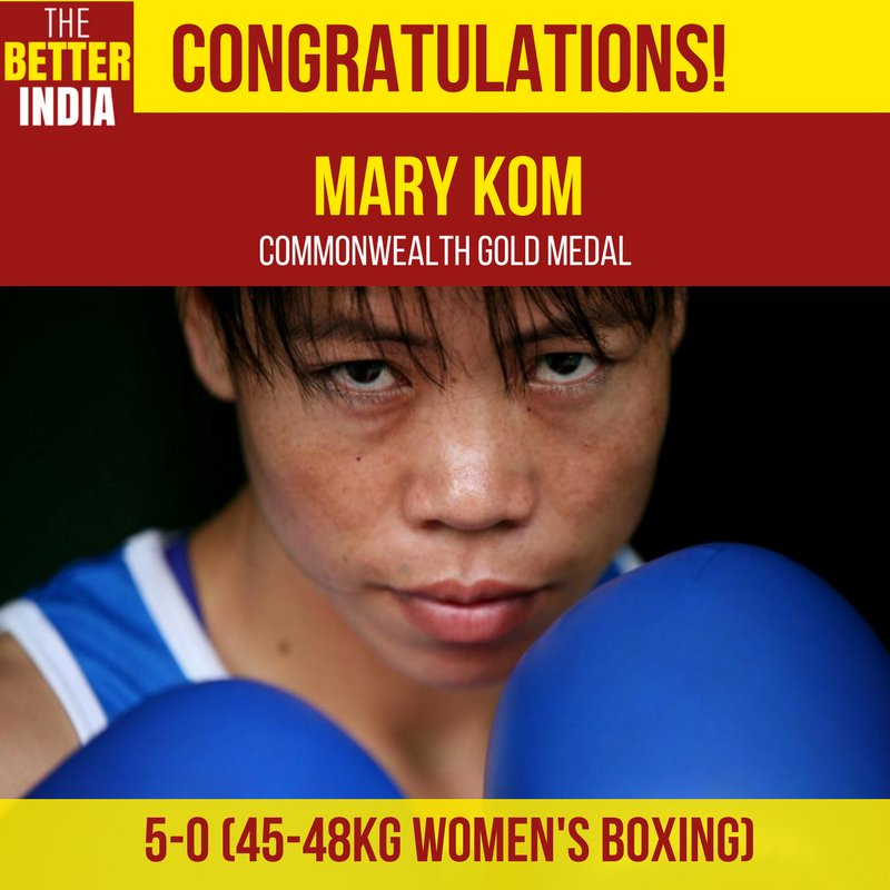 Indian boxer @MangteC adds another feather to her cap by winning the countrys 18th gold medal at #CWG2018 in 45-48kg boxing event. She beat Northern Irelands Kristina OHara 5-0 via unanimous decision! #GC2018  IMAGE: New Woman India