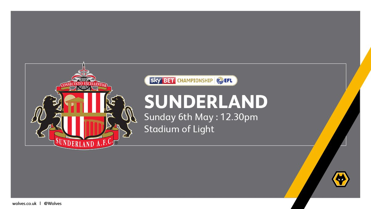 🎟 @SunderlandAFC (a) on Sun, 6th May (12.30pm): Less than 500 tickets remain for the final fixture of the season. Now on sale to STHs with 1,120 loyalty points or more. #SUNvWOL