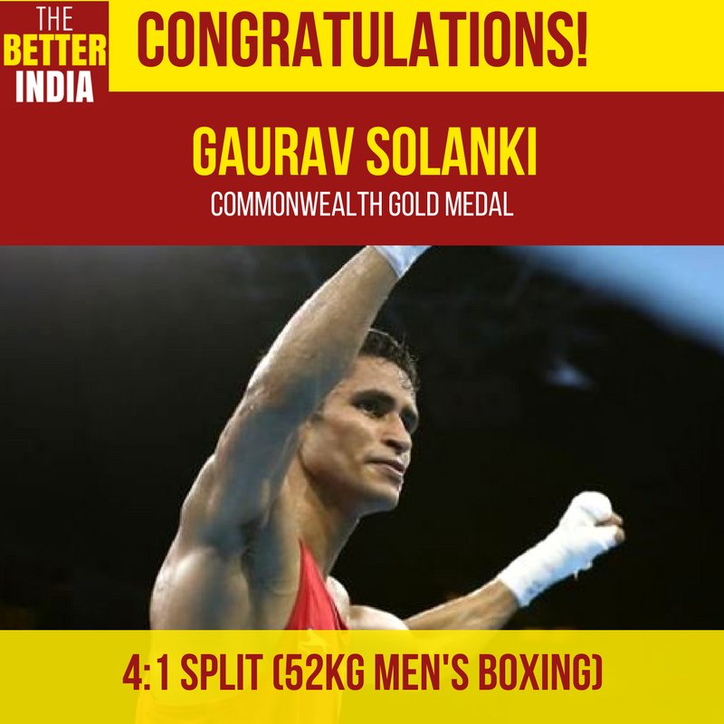 #GauravSolanki dominated his match with some furious jabs and hooks as he won Indias 20th gold medal at #CWG2018. #GC2018