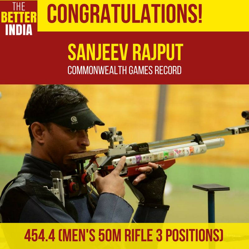 Veteran shooter @sanjeevrajput1 claimed the gold medal in his third CWG today by setting a new record at 454.4 inmens 50m rifle 3 positions event. #CommonwealthGames2018 #GC2018 SOURCE: Doordarshan News
