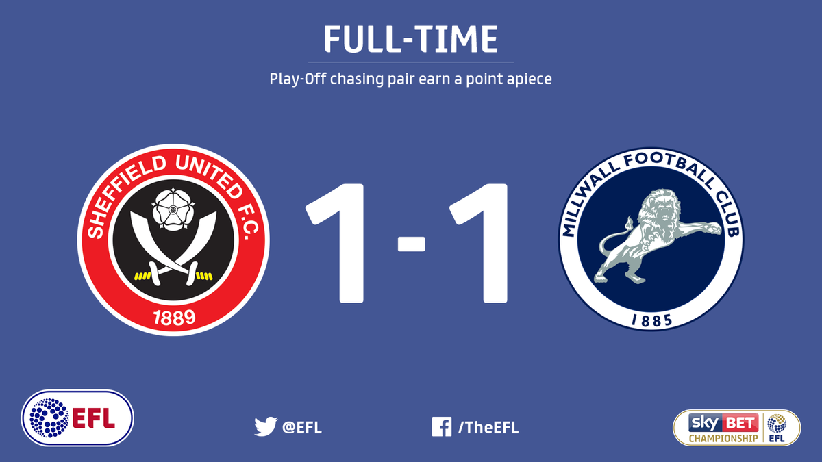Its all over at Bramall Lane. Clarke cancelled out by Morison. @SUFC_tweets 1-1 @MillwallFC.