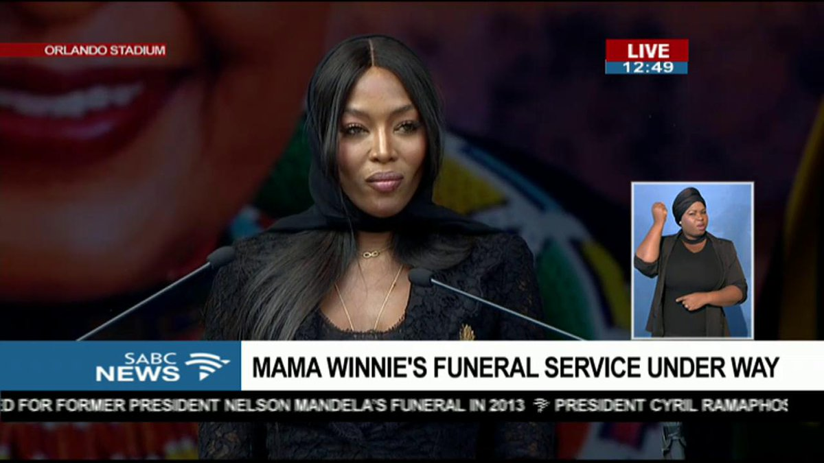 Naomi Campbell paying tribute to Mama Winnie