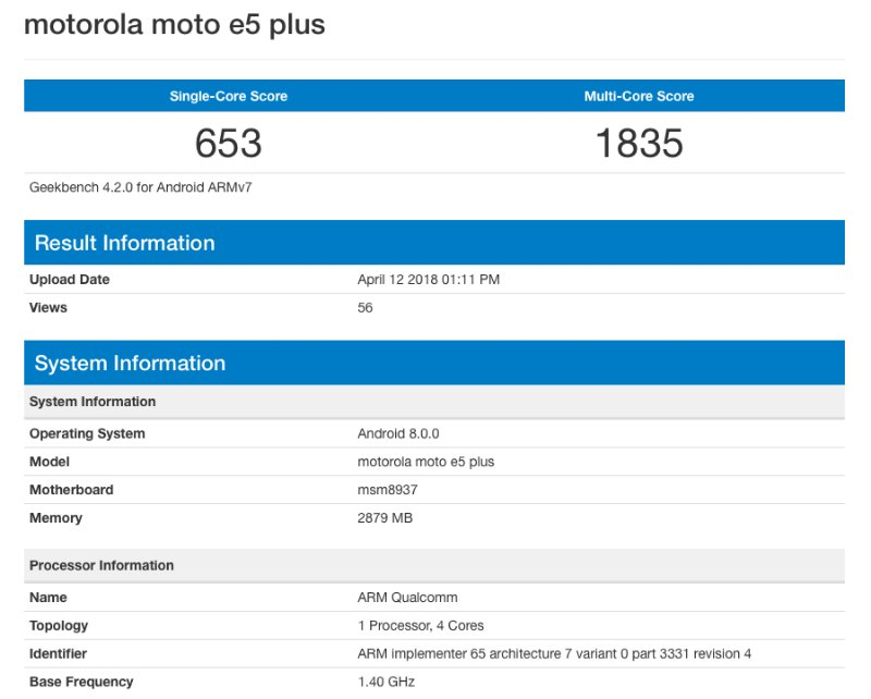 Moto E5 Plus Listed on Geekbench with Snapdragon 430