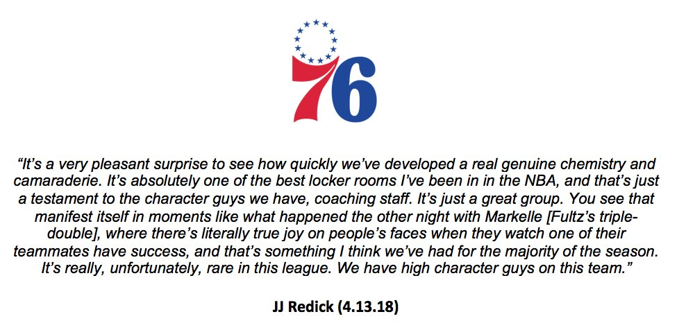 Lets start Playoffs day with a quality, inspiring quote from JJ Redick about the dynamics and culture that Brett Brown has built inside the Sixers locker room. #PhilaUnite
