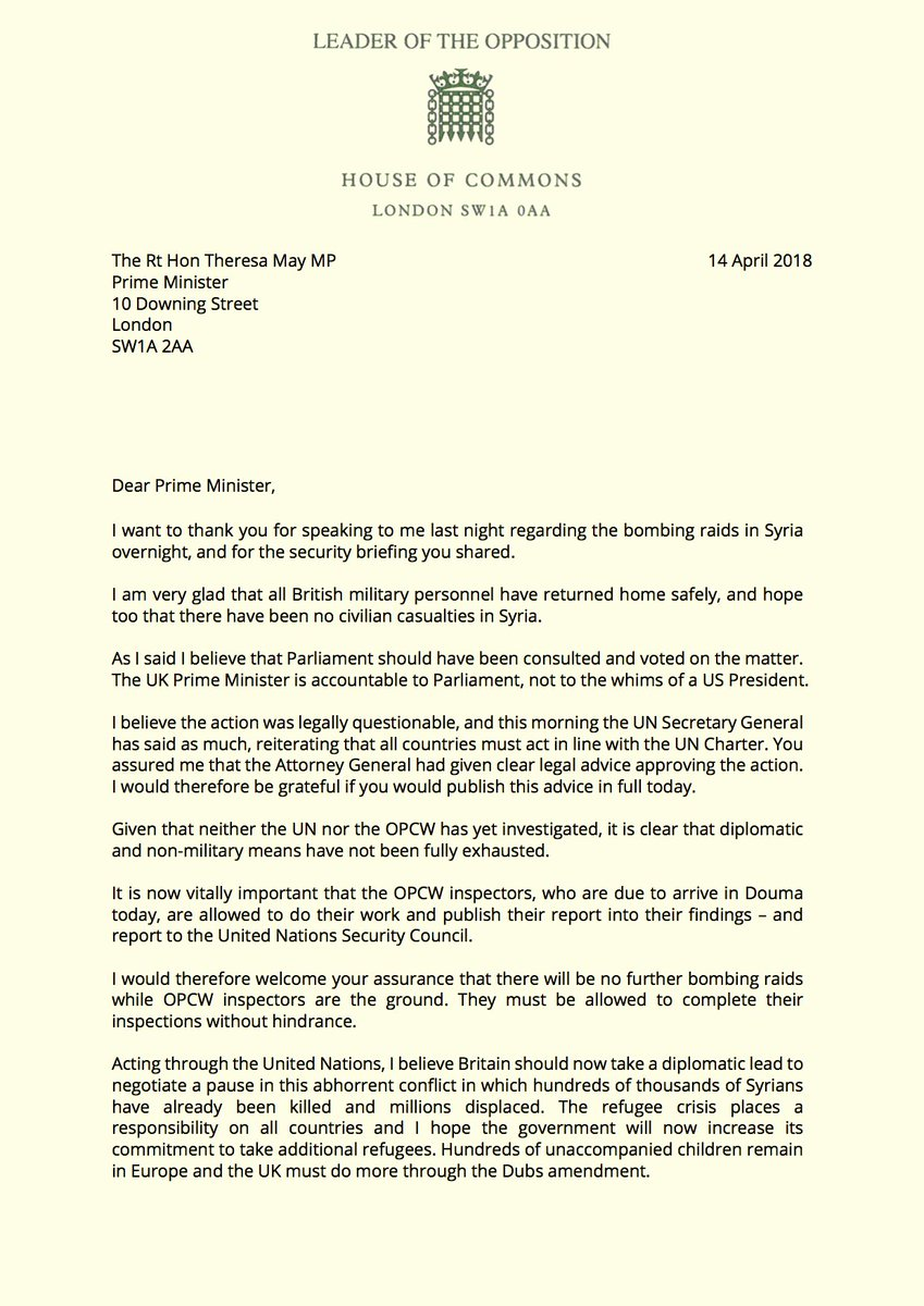 I have written to @theresa_may in response to last night's legally questionable air strikes on Syria.  Parliament should have been consulted and voted on the matter. The UK Prime Minister is accountable to Parliament, not to the whims of a US President.