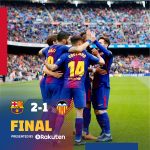 ⏰ Final whistle! FC Barcelona 2-1 Valencia CF Suárez and Umtiti / Parejo (pen) 🔵🔴 #BarçaValencia