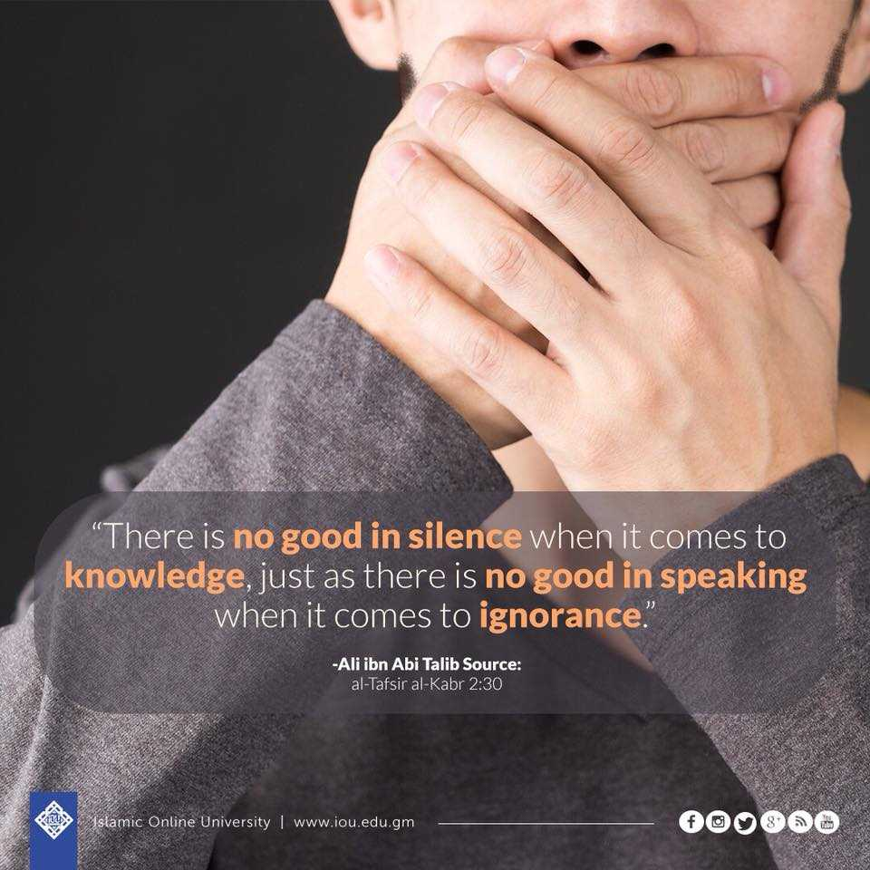"""""""There is no good in silence when it comes to knowledge, just as there is no good in speaking when it comes to ignorance.""""- Ali ibn Abi Talib #Knowledge #Allah #Truth<br>http://pic.twitter.com/sqEguubhuN"""