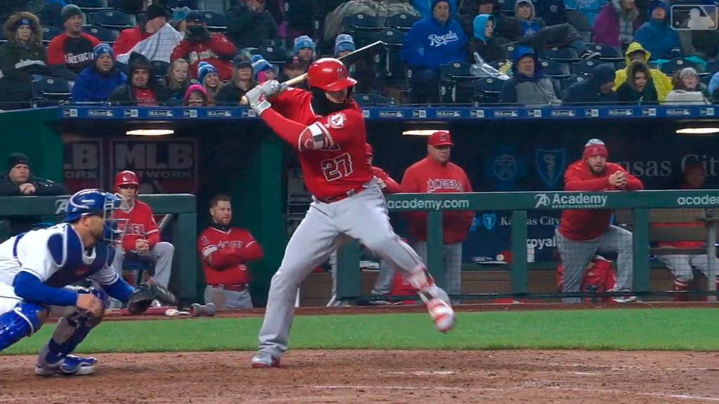 A rainstorm and massive winds? @MikeTrout will still take you deep. https://t.co/kPggk6VkUS