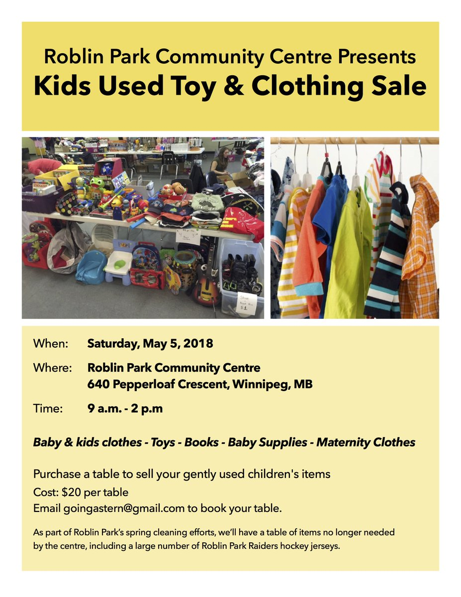 0063557f229 Some great deals! Got some clothing and toys to get rid of  Buy a table and sell  your goods! http   www.roblinpark.mb.ca  pic.twitter.com 5eeTidAlYH