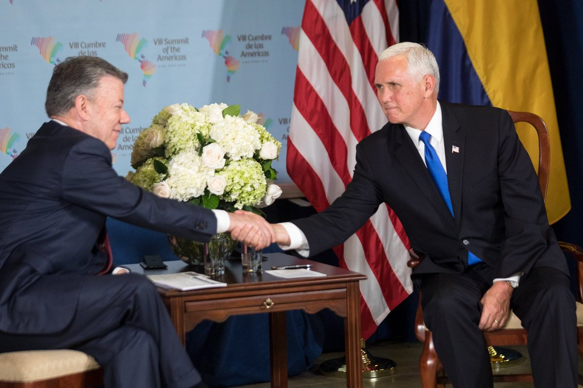 Discussed ways to deepen the close friendship between the U.S & Colombia w/ Pres. @JuanManSantos. We also have a shared commitment to pressure the Maduro regime to bring democracy back to Venezuela. #SummitPeru