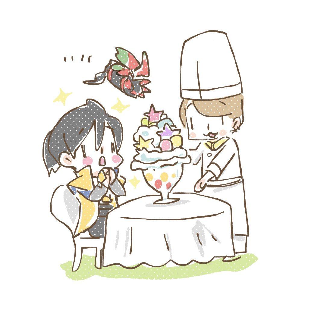 リクエスト頂きました@mgr_saba うっちーに氷菓子作ってあげるスパーダだよ🍨🍦🐠⋆*