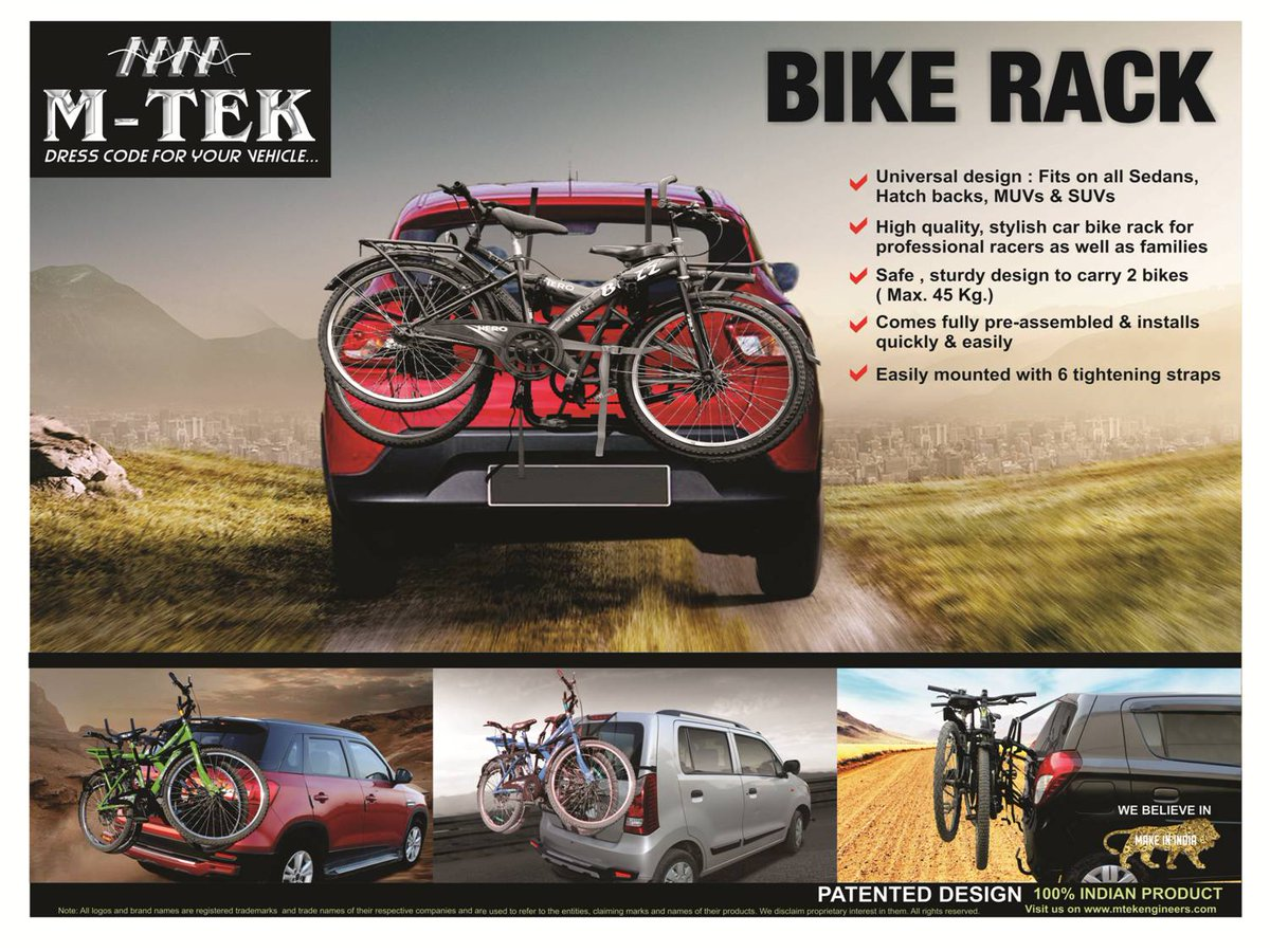 M-TEK is launching &quot;BIKE RACK&quot; , the new trend, the sports utility product.  The &quot;Bike Rack&quot; can be used for all car variants and it can carry 2 Bicycles at a time. #bike #rack #bicycle #car #sports #utility #accessories<br>http://pic.twitter.com/VGpkSgXm1c