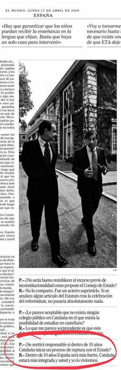 Zapatero, el hombre que impulsó la ruptura de la comunidad política española. Lean el párrafo final de esta entrevista. Ya lo escribió Cipolla: la estupidez es el  rasgo más peligroso del ser humano.