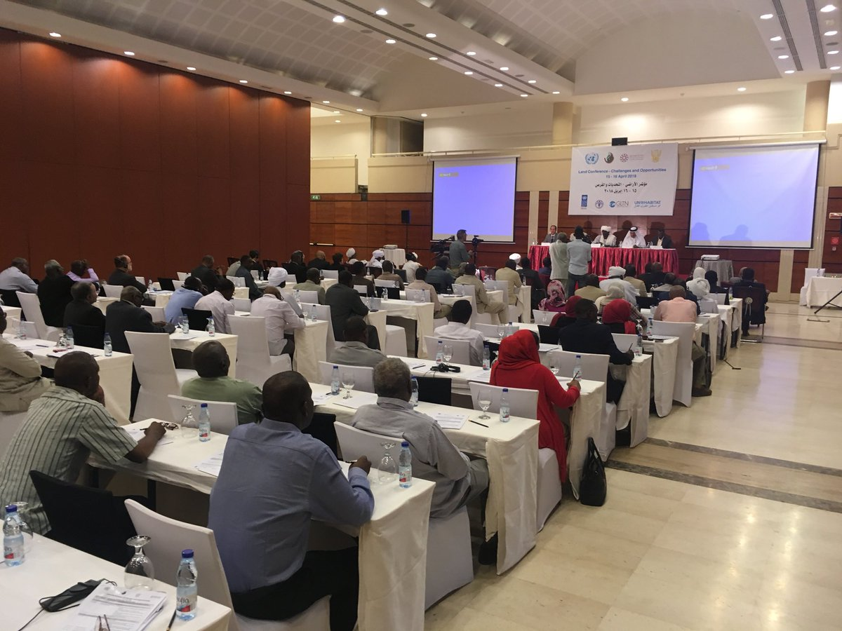 we are attending the #Land Conference Challenges &amp; Opportunities held by #UNDP #UNHabitat #FAO and #Darfur Land commission &amp; Global Land Tools Network #GLTN. #Land is one of #UNDF #FAST activities funded by @qatar_fund<br>http://pic.twitter.com/f7YguASkgZ