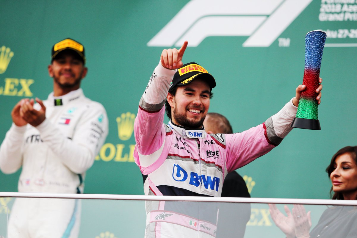 Checo celebrating on the podium