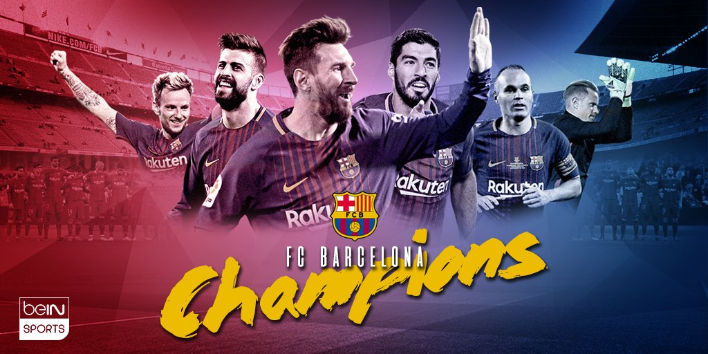 Another one in the books! @FCBarcelona win their 25th @LaLiga title! 🔴🔵🏆 #beINSPORTS #ForçaBarça