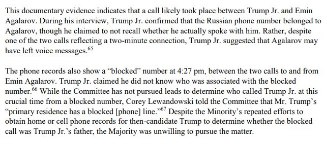 2.) Don Jr. had two calls with Emin Agalarov to pursue dirt Russians were promising as part of June 9, 2016 meeting. Sandwiched between these calls? A third call from a blocked number. We tried to subpoena call records to see if blocked number was Donald Trump, but Rs blocked us: https://t.co/VErLSPRcGJ