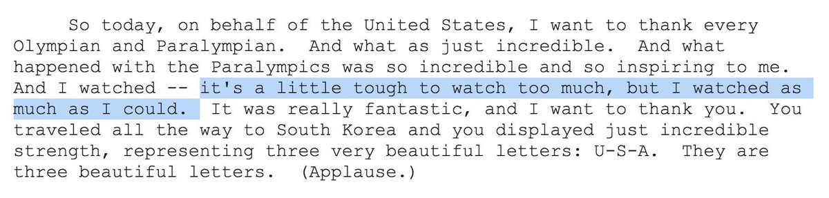 """Trump, who openly mocked a disabled reporter during his campaign, said today he finds the Paralympics """"tough to watch."""" Has there ever been a President who so openly disdained disabled people? https://t.co/YykfShQ4KW"""
