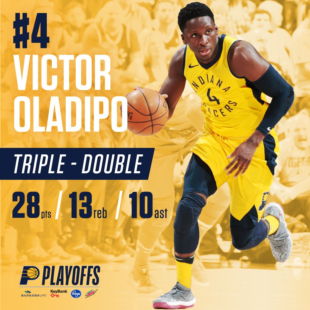 Victor Oladipo's triple-double was the third in #Pacers franchise NBA playoff history. https://t.co/mlzDMTZGdW