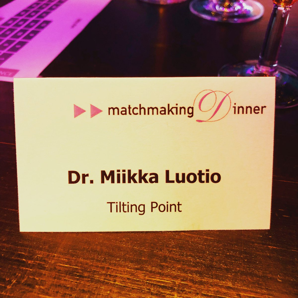 Matchmaking dinner 2018