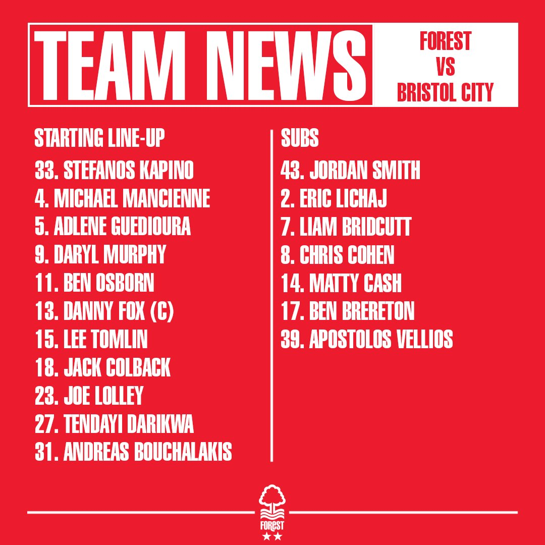 The team news is in...  This is the #NFFC side to face @bcfctweets this afternoon.  #ThatLovingFeeling