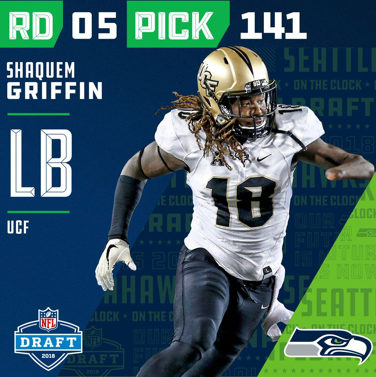 With the #141 pick, the @Seahawks select LB @ShaquemGriffin! #NFLDraft  📺: NFLN/ESPN