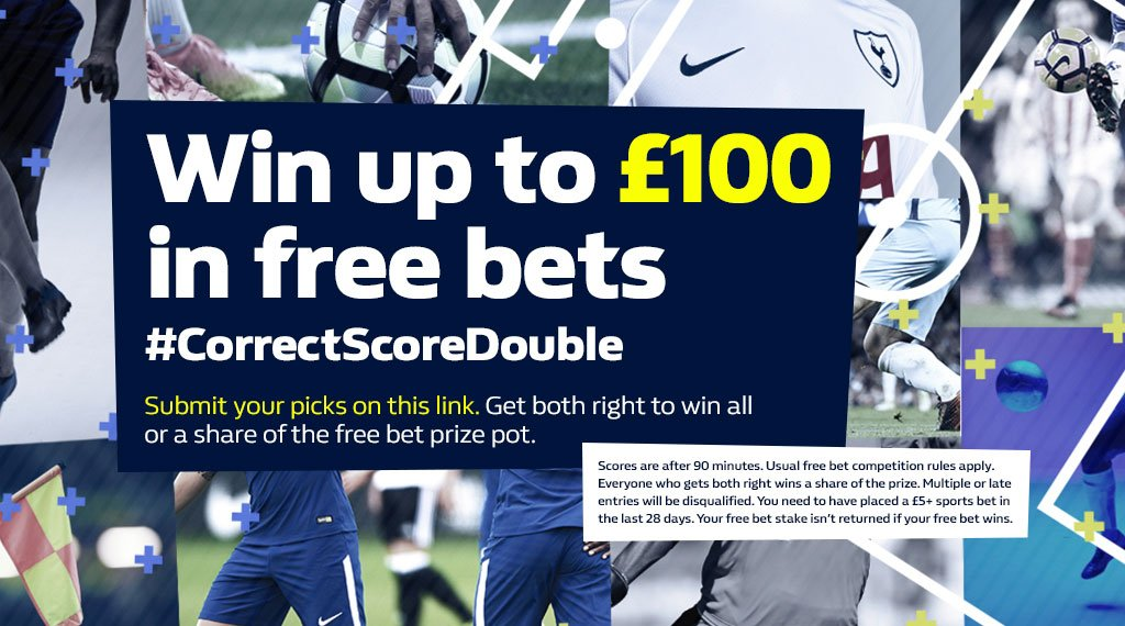 Have you entered this weeks #CorrectScoreDouble? ⚽  Everton v Crystal Palace (Sunday) Arsenal v Leicester (Monday)  Predict the correct score of these matches and you could win up to £100 in free bets 👍  Enter here - https://t.co/SSXExa5AJD        Terms apply.