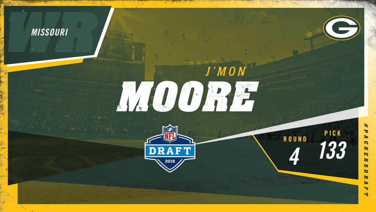 With the 133rd pick in the 2018 #NFLDraft, the #Packers select Missouri WR J'Mon Moore!  #PackersDraft #GoPackGo https://t.co/SFmu0Q85s0