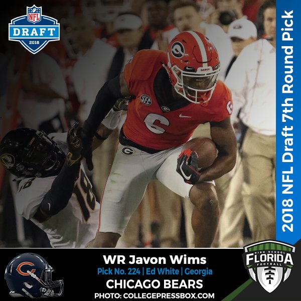 60114f547ab 2018 #NFLDRAFT ROUND 7 - PICK 224 CHICAGO BEARS Javon WIms Wide Receiver  Georgia Ed White #flhsfb (@EWCommanders) http://flhsfb.com/2KfZ5ba  pic.twitter.com/ ...