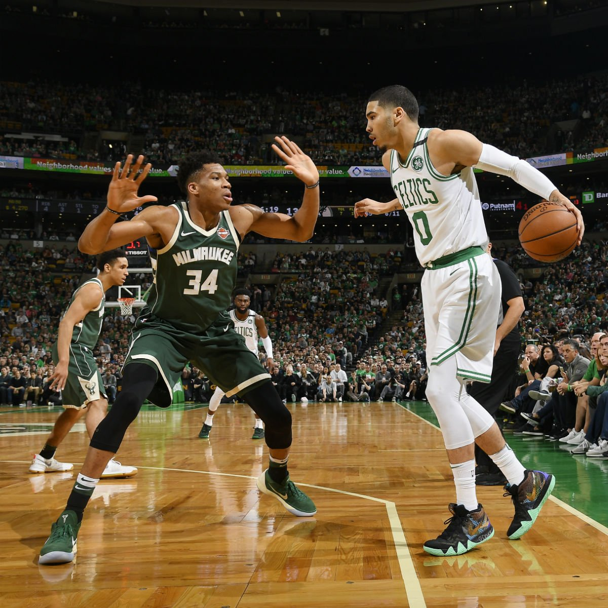 169fc0fb6c77  SoleWatch   Giannis An34 wearing a Nike Kobe A.D. Mid PE    jaytatum0 in  the