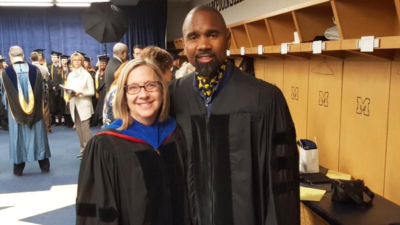 Call him Dr. Woodson?  @CharlesWoodson had a big day at commencement in Ann Arbor: https://t.co/DWZictVlVU https://t.co/nnkvzGC9Wb