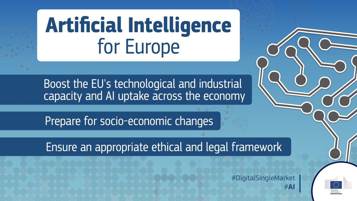 New technologies should not mean new values. We will present ethical guidelines on #AI development by the end of the year, based on the EU's Charter of Fundamental Rights, taking into account data protection and transparency. #DigitalSingleMarket https://t.co/FtQ1qXzBEW