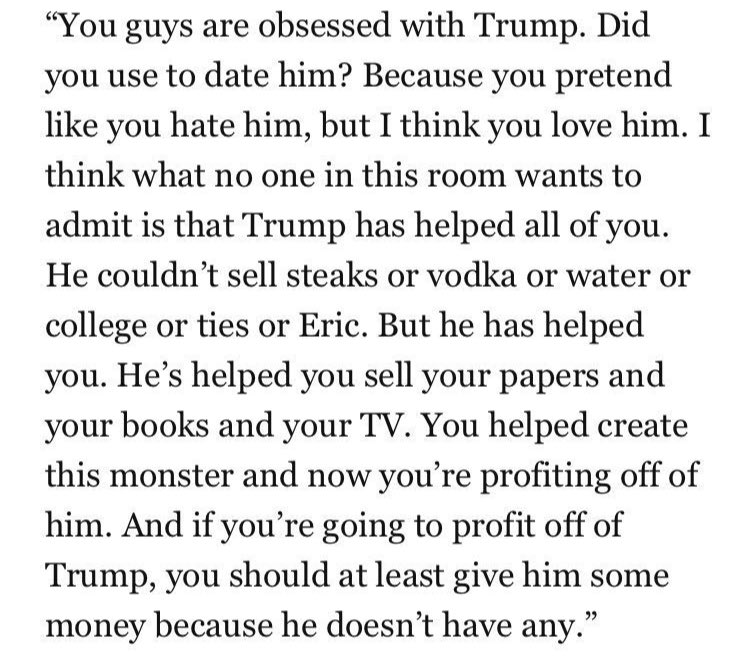 I'm afraid all the debate over whether Michelle Wolf was too mean to Sarah Sanders is going to overshadow this juicy bit of media criticism in her #whca monologue: