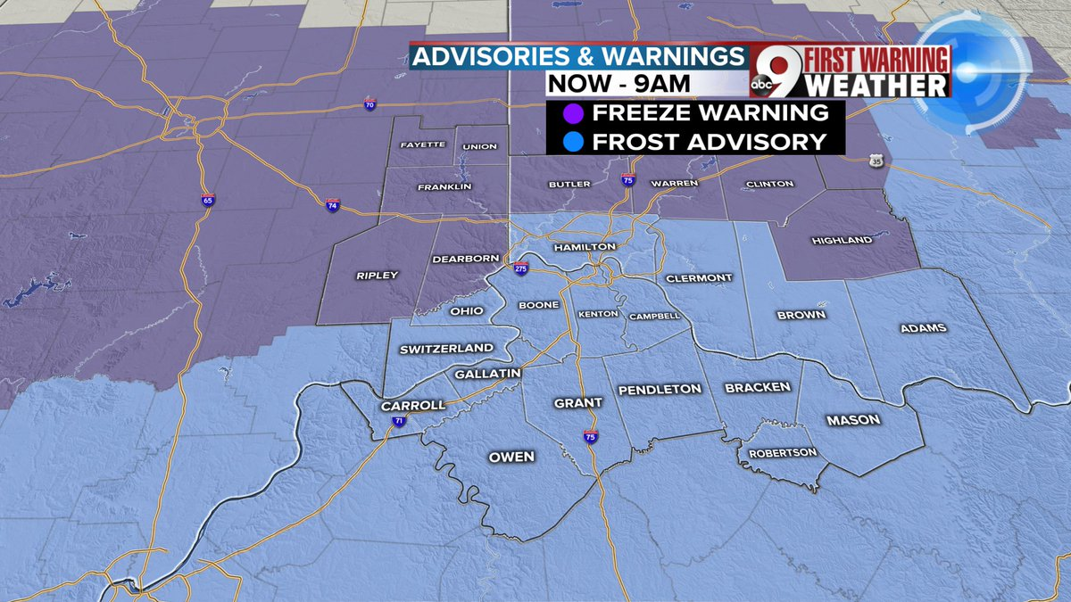 The Tri-State remains under a Freeze warning & Frost advisory through 9AM. #BRR #Cold @WCPO #CincyWx #InWx #KyWx