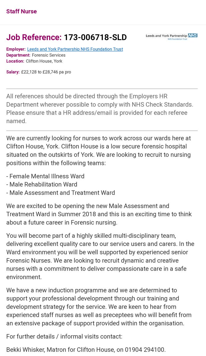 Ben Green On Twitter There S An Exciting Opportunity Available For Band 5 Mental Health Nurses We Re Opening A New Male Assessment And Treatment Ward In York The Post Now Live On Nhsjobs