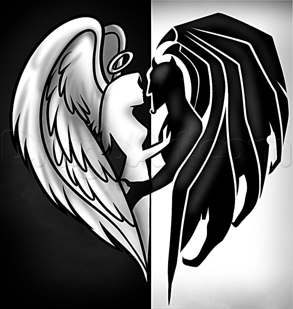 Картинки ангел и демон любовь карандашом
