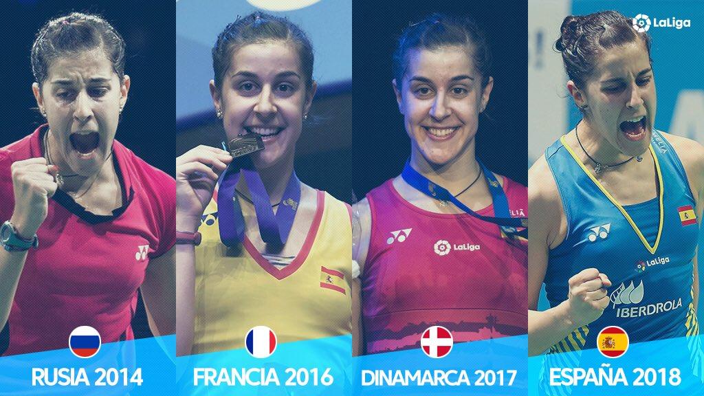 🏆 ¡La REINA DE EUROPA está en Huelva! 🏆  @CarolinaMarin se convierte en la primera jugadora de la historia que gana 4️⃣ títulos europeos 😱🔝  ¡Enhorabuena, Caro! ➡️ l4s.sh/6mjifk