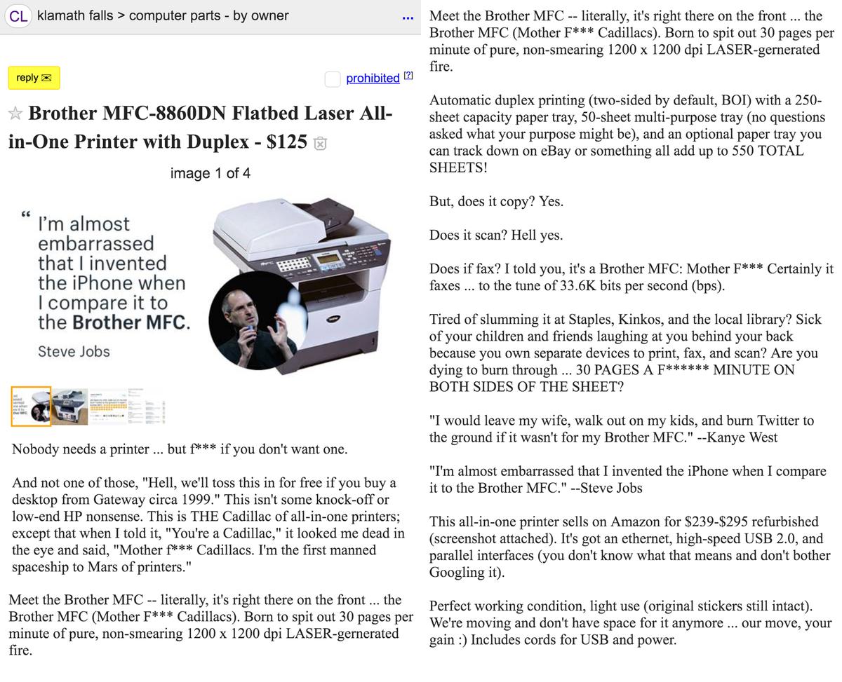 Aaron Orendorff On Twitter I M Selling My Printer On Craigslist