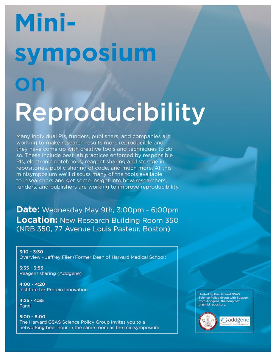 Join us for the Minisymposium on #Reproducibility May 1st. With support from @addgene we'll discuss  tools available to researchers and get insight into how researchers, funders, and publishers are working to improve reproducibility. RSVP here:  http:// info.addgene.org/minisymposium- on-reproducibility &nbsp; … <br>http://pic.twitter.com/qXUpTpm69D