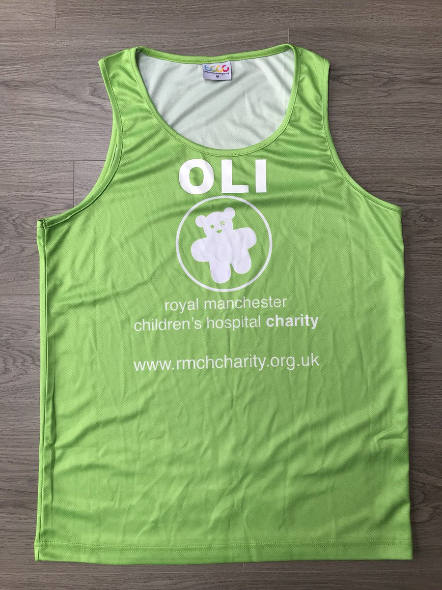 Made up with the @tshirts2print printing on my vest ready for the @fcrevents Blackpool Half Marathon on Sunday, challenge 10 raising money for @RMCHcharity & #IMOAC.  💚🏃‍♂️