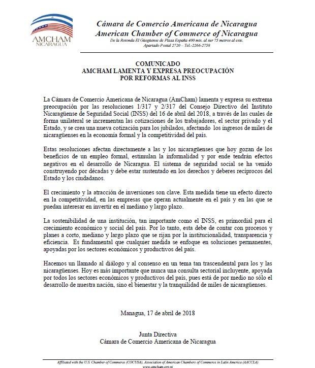 AmCham Nicaragua's photo on INSS
