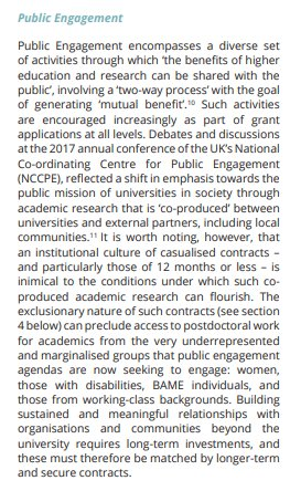 &quot;Casualised contracts – and particularly those of 12 months or less – [are] inimical to the conditions under which co-produced academic research can flourish&quot;.  Our assessment of the effects of casualisation on #publicengagement work. Full report:   https:// goo.gl/6pdWg8  &nbsp;   @NCCPE<br>http://pic.twitter.com/OUyDQ7a8HJ