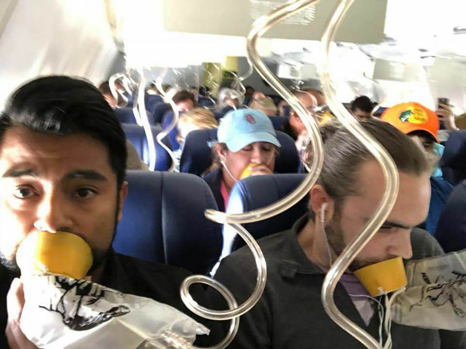 Photos from Damaged Southwest Flight Show Passengers Not Heeding Safety Directives