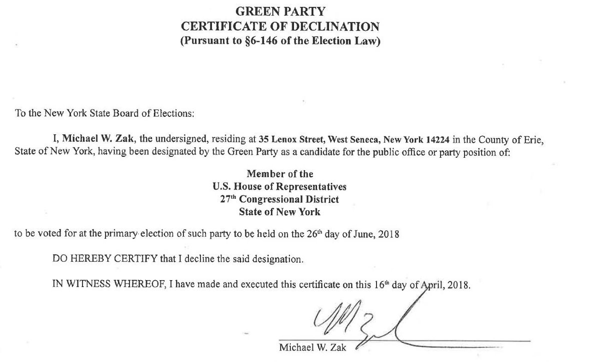 BREAKING: The declination (withdrawl) from Michael W. Zak, as a Green Party candidate in the #NY27 race. @wgrz