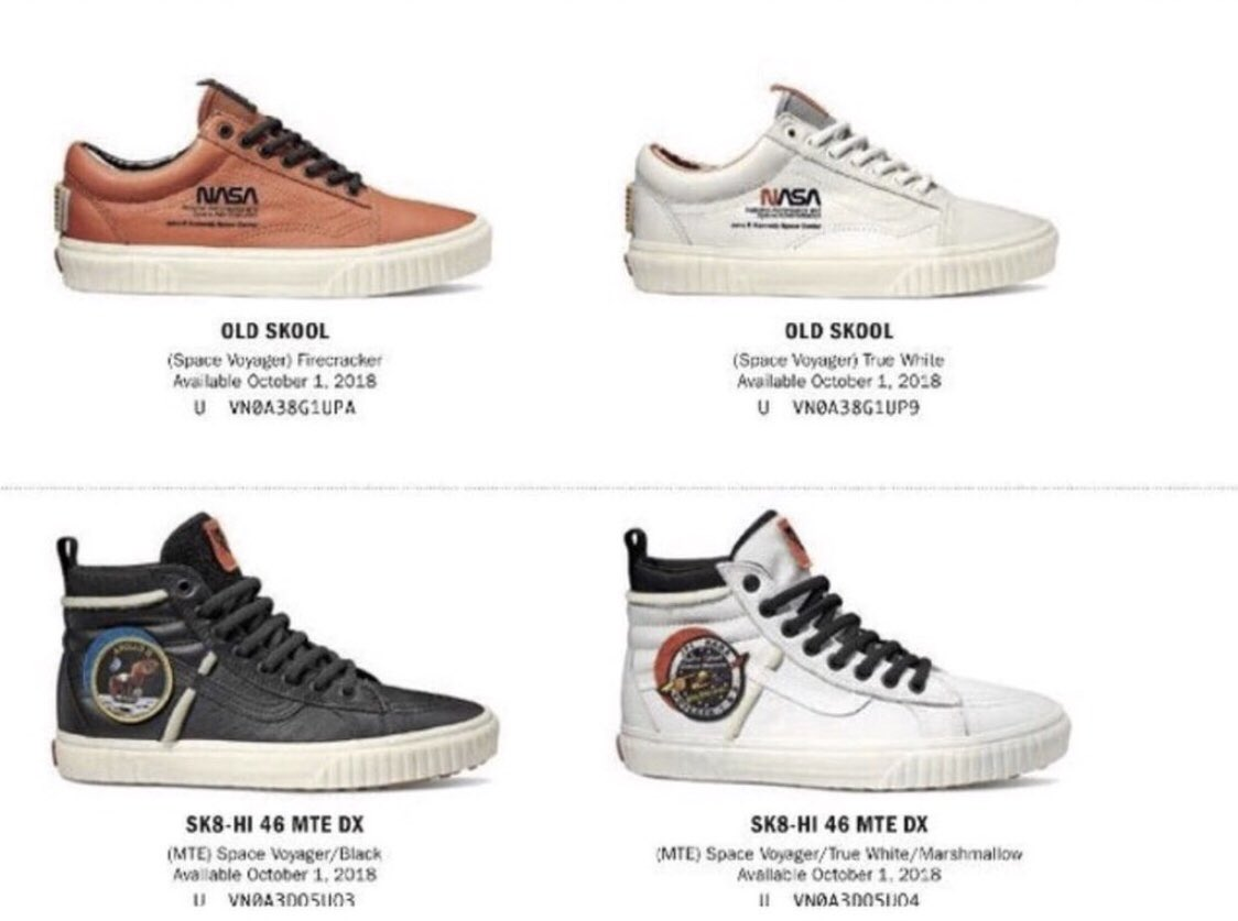 4c7e60b433fb17 Vans x NASA appear to be dropping October 1st 2018 in an Old Skool model in  a Brown and White cw and a Sk8-HI MTE DX model in a Black and White cw.