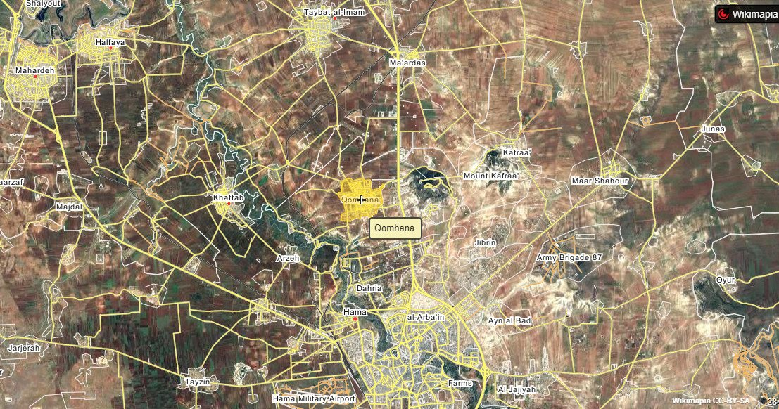 Syria civil war map / A Clarification map of Strong explosions in the city of Qamhana / Hama / Syria