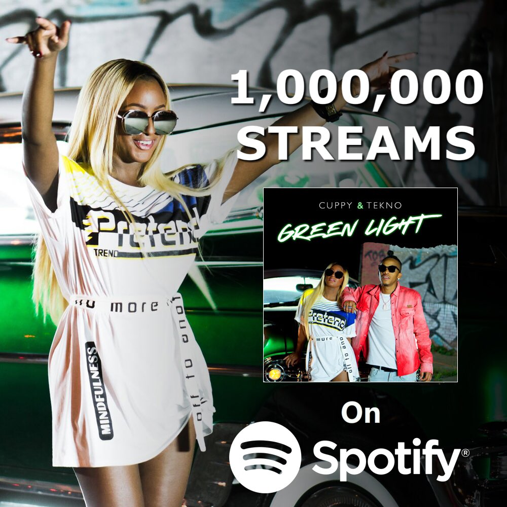 Woooo! Cupcakes, I just hit over a MILLION streams on @Spotify on my first song! 😱 Thanks for your support on #GreenLight 🚦🔥🎶 Cc: @AlhajiTekno