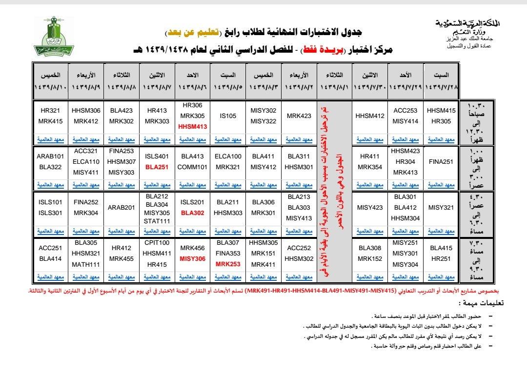 جزئي ورقة محدود جداول الكليات جامعة الملك فيصل 1439 Ffigh Org